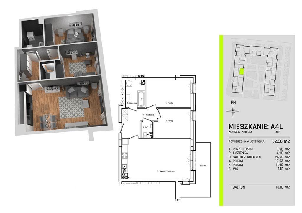 Trzy pokoje w apartamentowcu na Nowym Złotnie w ot
