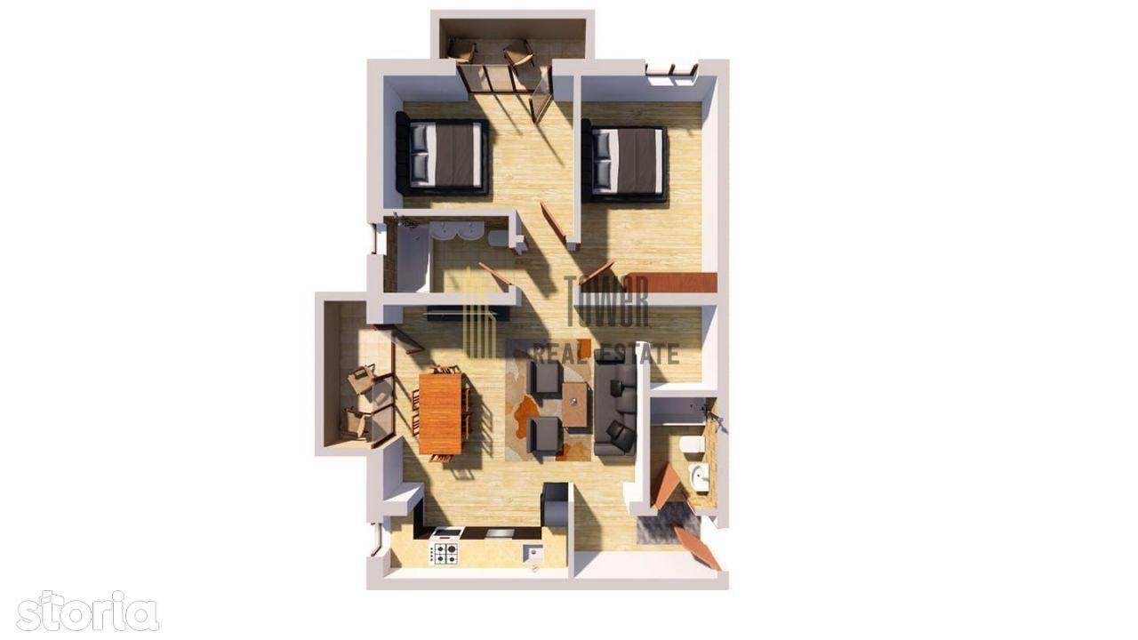 Apartament 3 camere, 2 balcoane, Floresti, 2020