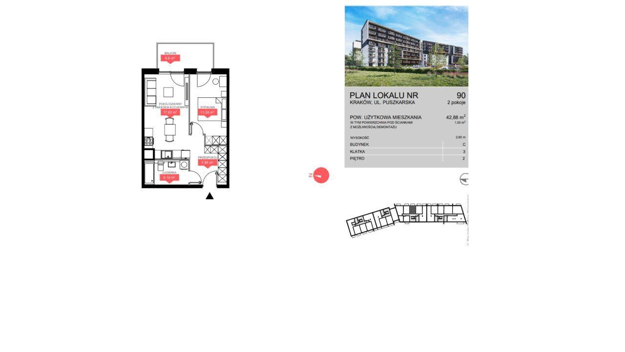 Na sprzedaż 2 pok. mieszkanie 43m2 okolice Bonarki