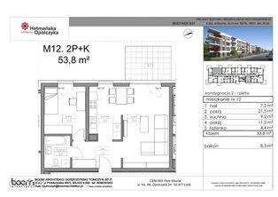 B37-M12, mieszkanie 2-pokojowe, 53,80 m2, 1 piętro