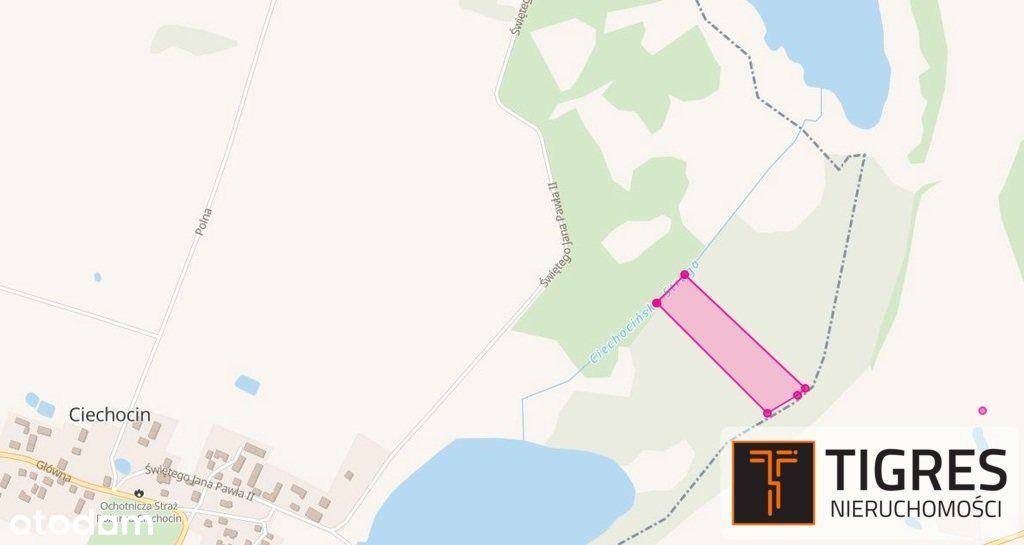 Działka w Borach Tucholskich, 250m od jeziora.