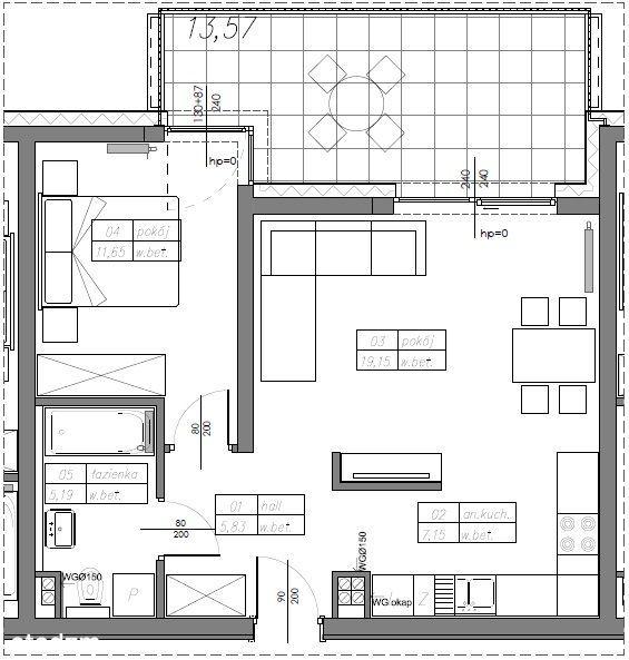 Mieszkanie 48,97 m2 w stanie deweloperskim