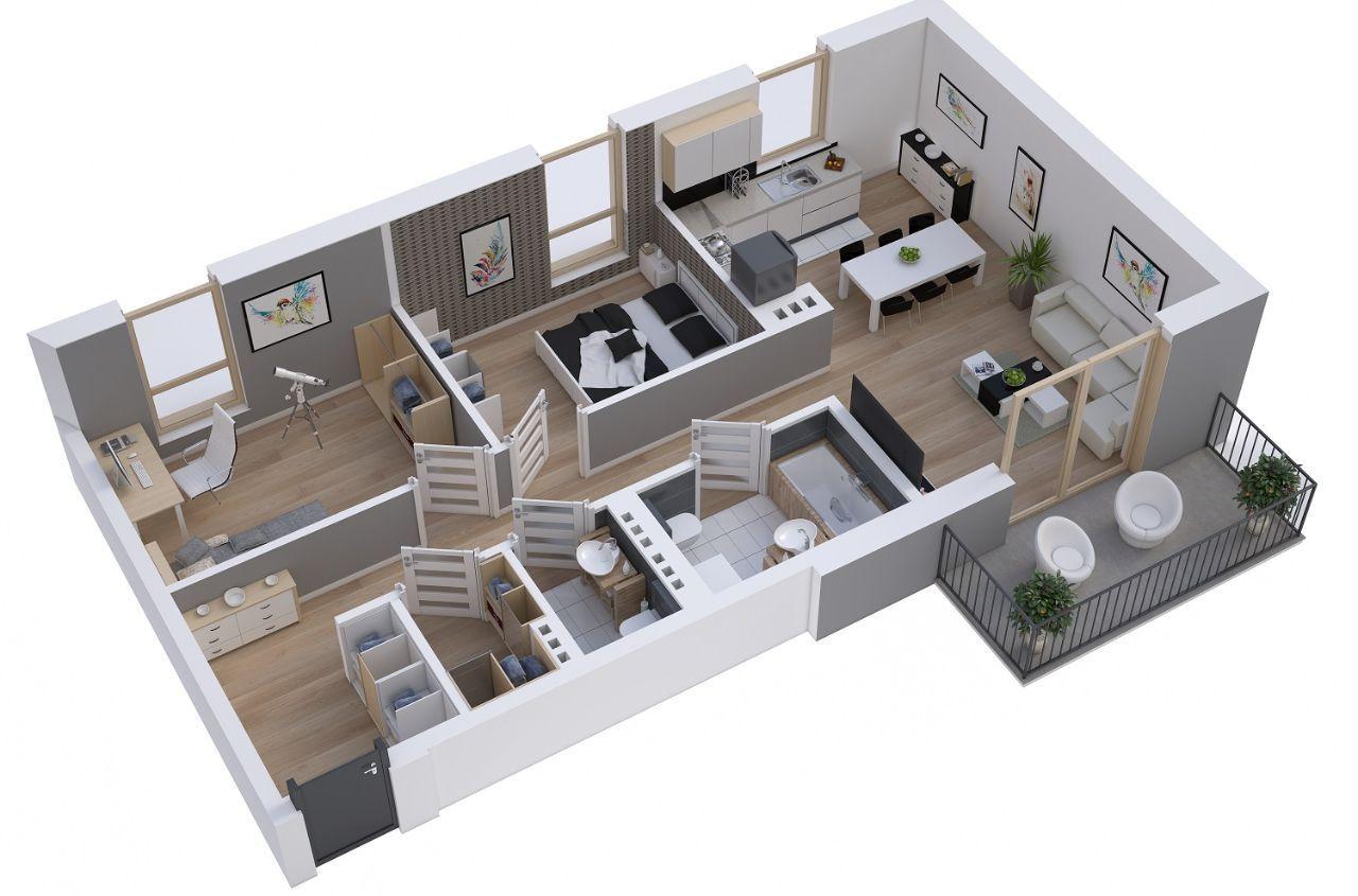 Mieszkanie 3 pokoje 64,27 m2 ul.Czapli 3 II piętro