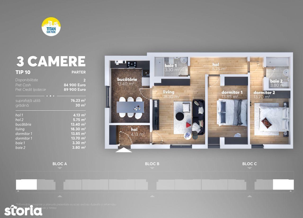 Apartament 3 cam,30mp gradina, Direct Dez, Comision 0%, 12 min Metrou