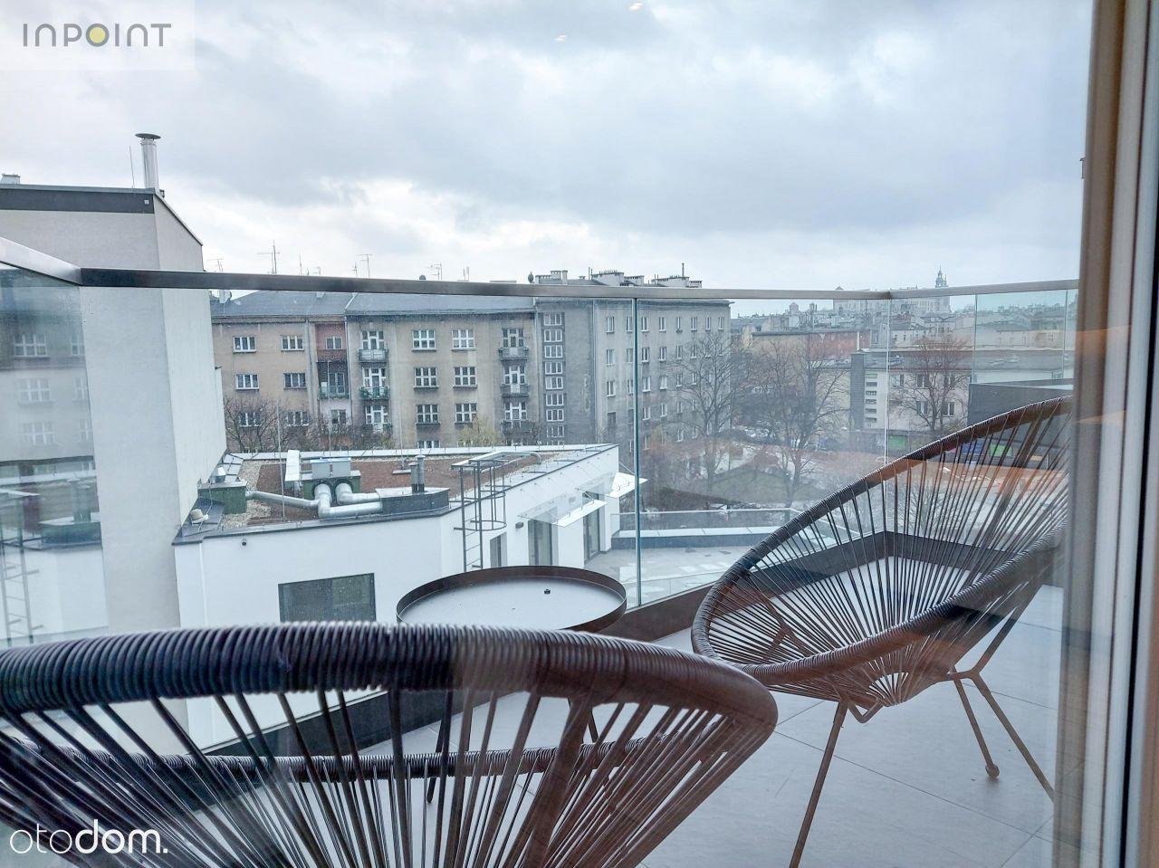 Kawalerka z 2 balkonami z widokiem na Wawel