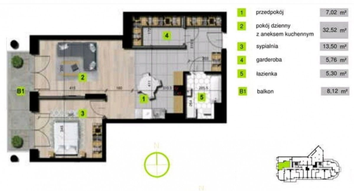 2 pokoje 64 m2 + taras, blisko centrum