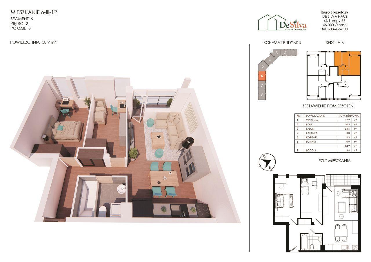 Mieszkanie 3pok.w nowym bloku garaż podziemny 6312