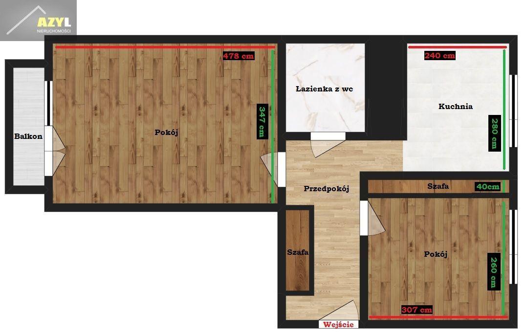 Mieszkanie 2 pokojowe 43m2 w Będzinie - Ksawera