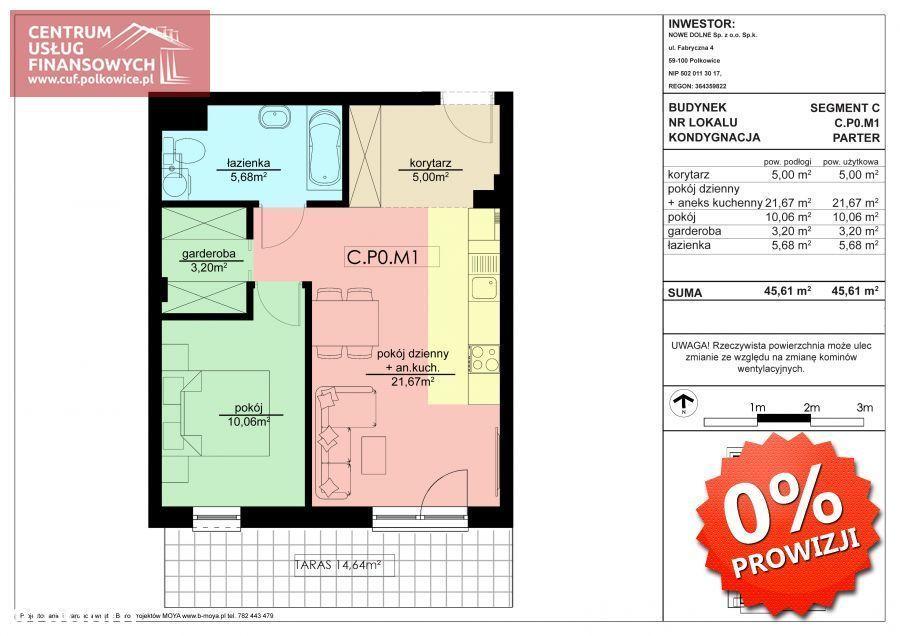 2 pok. 45,61 m2 Nowe budownictwo, Polkowice