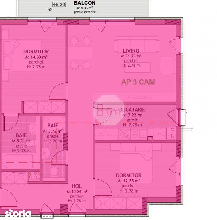 Vanzare Apartament Decomandat 3 Camere, 76 mp, Zona Mega Image !