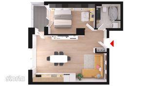 0% comision , apartament cu 2 camere, 55.75 mp