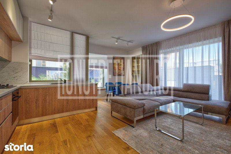 3 room, 2 bedroom luxury apartment with garden in northern Bucharest A