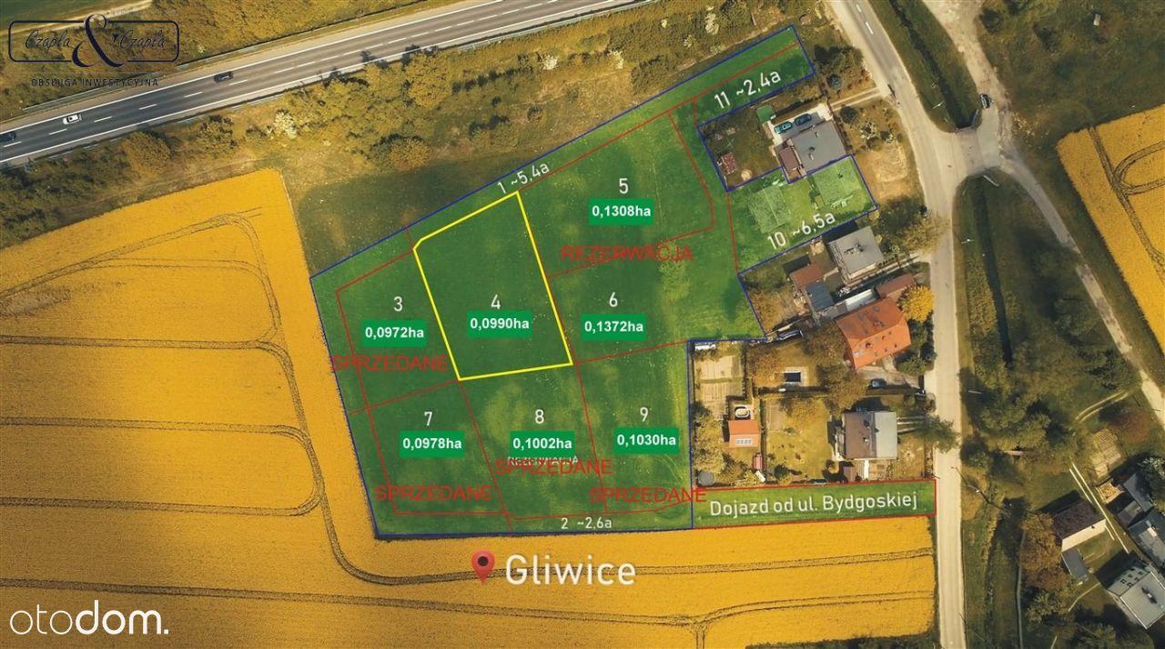 Działka, 990 m², Gliwice