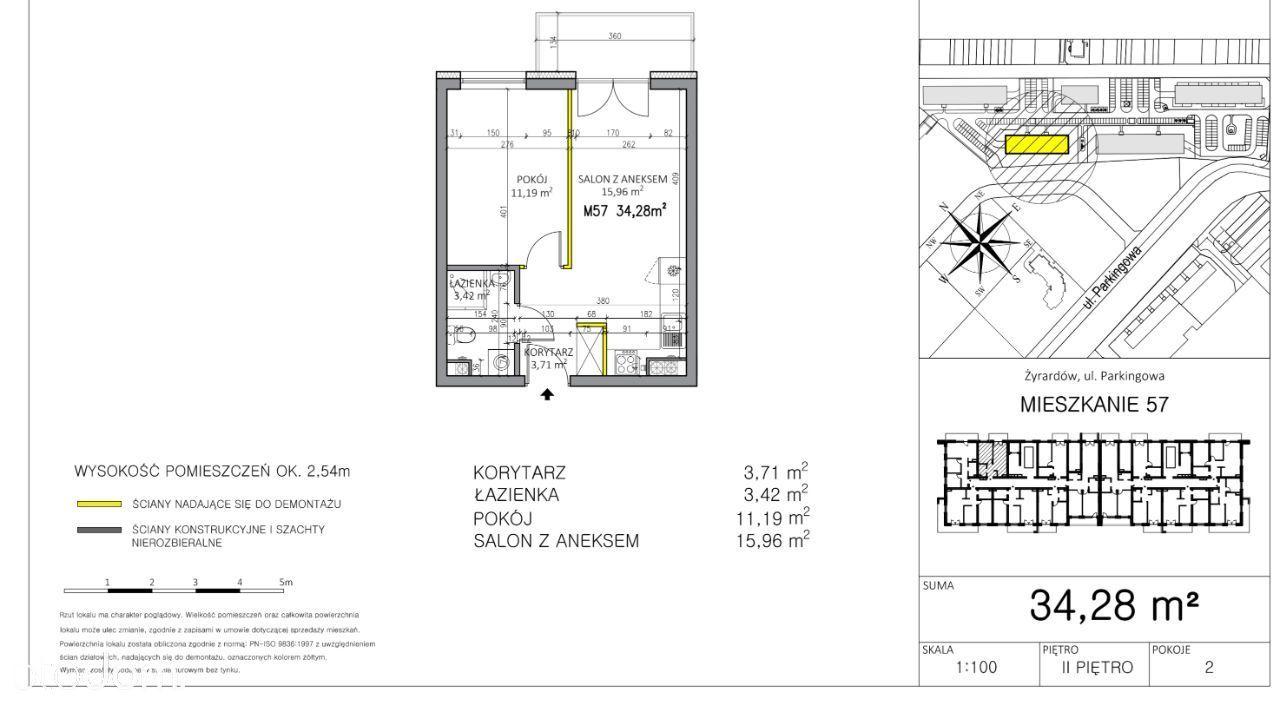 Mieszkanie M2 - 34,28 m - Żyrardów ul. Chabrowa