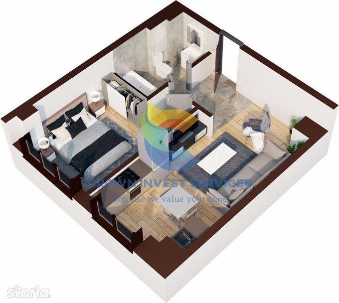 Apartament 2 camere decomandat, Oancea, open-space, etajul 7, 46,4mp