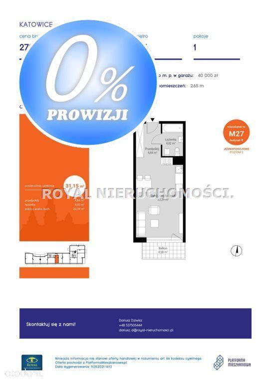 Mieszkanie, 31,15 m², Katowice