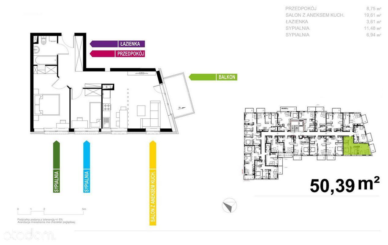 Nowoczesny Apartament 51m2, 3 pokoje, Bez Prowizji