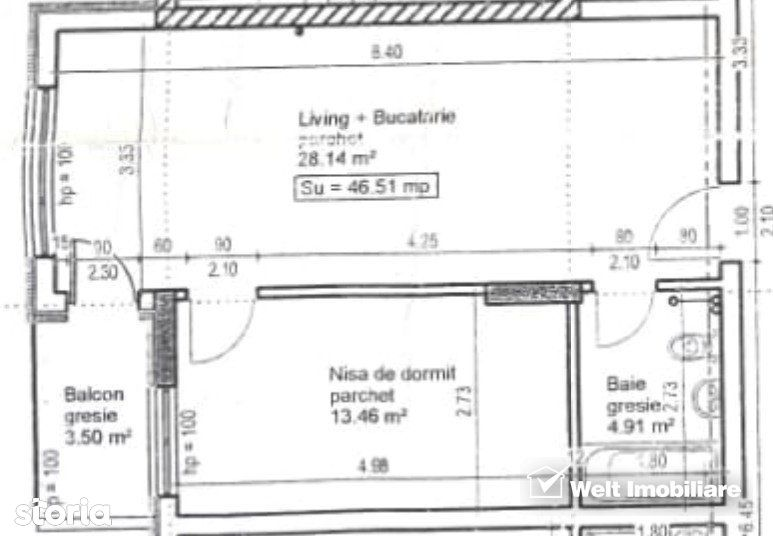 Apartament 2 camere, 46,5mp, logie 3,5mp,  etaj 3, parcare subterana,