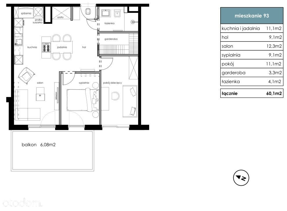 Bonarka - 3 pokoje + garderoba + balkon / IVQ 2021
