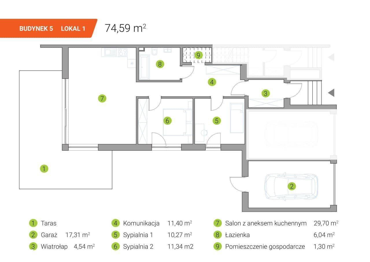 Mieszkanie z ogródkiem 74m2