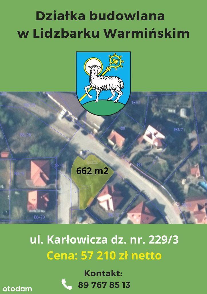 Działka, 662 m², Lidzbark Warmiński