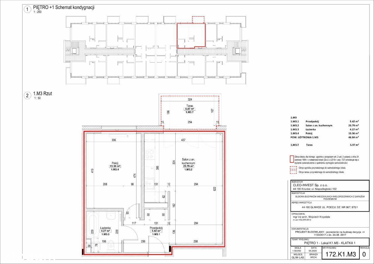 Nowe mieszkanie 46,83m2, 2 pokoje, balkon