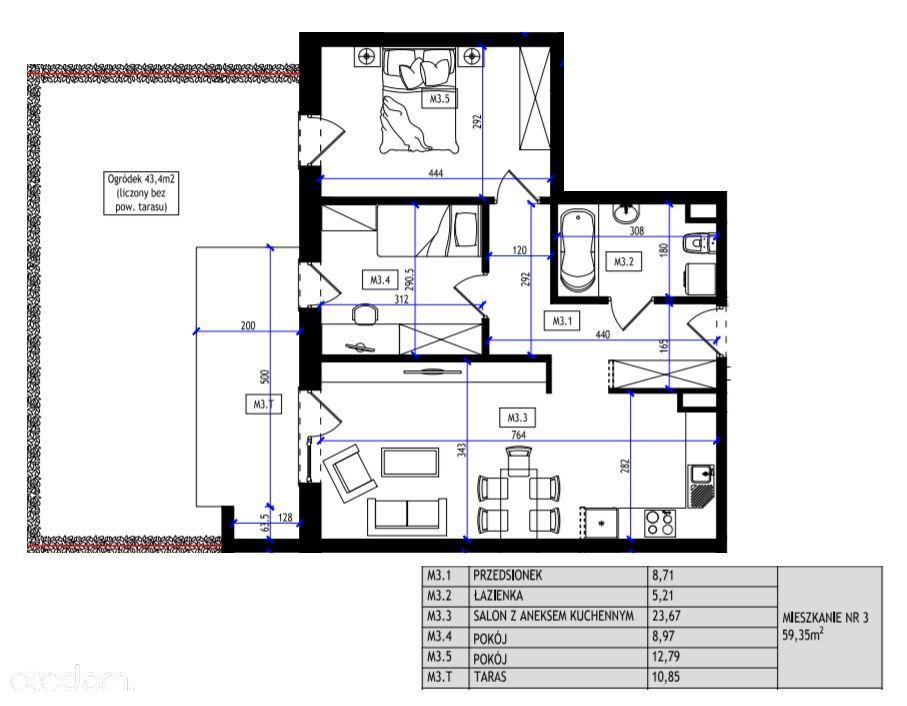 M59,35m2, ogródek, parking ! ODDANIE LISTOPAD 2021