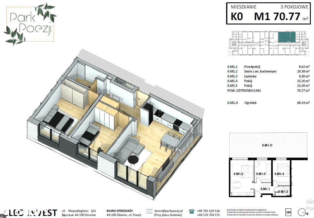 Nowe mieszkanie 69m2, 3 pokoje, ogródek 68m2