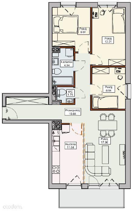 Ustawne M4 z balkonem, osobną kuchnią * Kameralnie