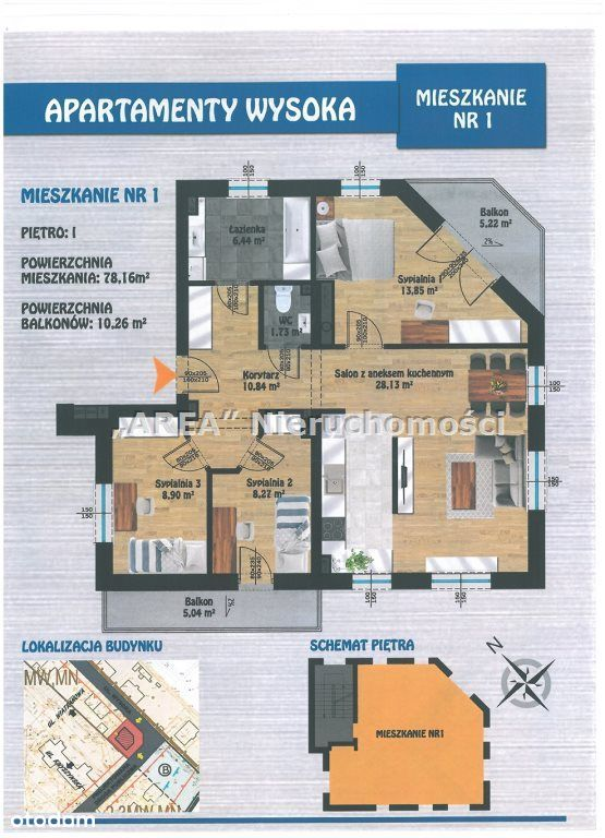 Apartamenty Wysoka - 4 pokoje, I piętro, 2 balkony