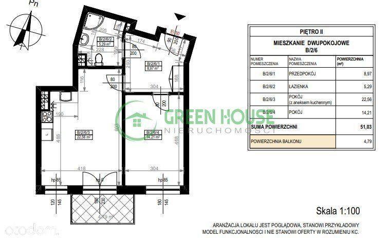 Mieszkanie 51.03 m2 z balkonem Bez Prowizji