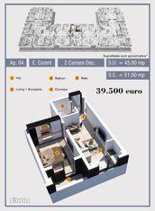 Apartament cu 2 camere semi-decomandat