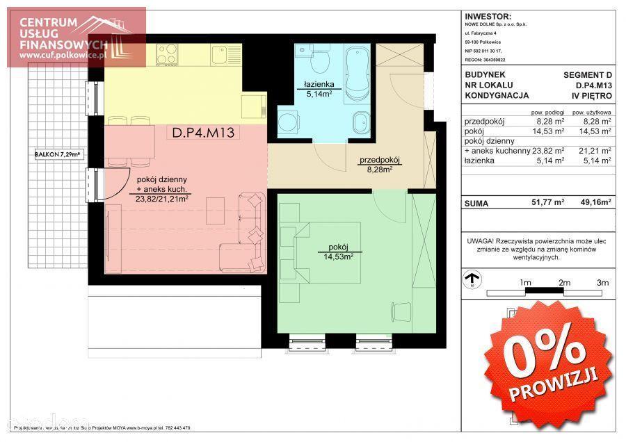 2 pok. 49,16 m2 Nowe budownictwo, Polkowice