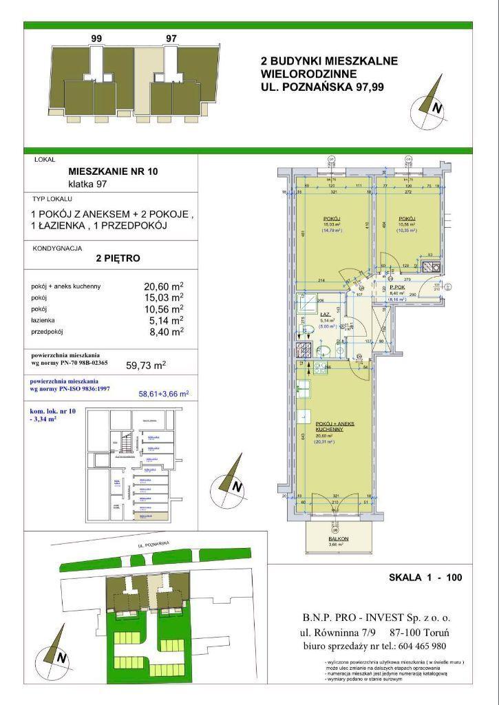 Poznańska 97. Mieszkanie 59,73 m2