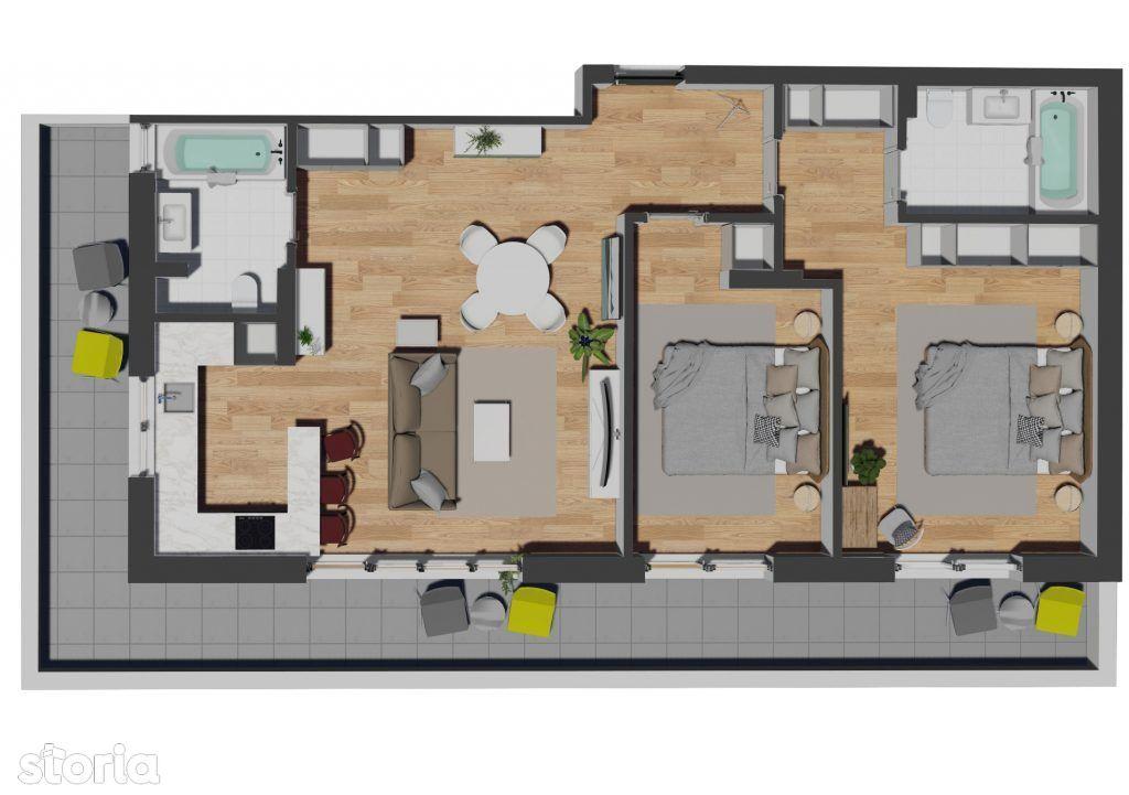 Apartament 3 camere cu terasa de 27mp, Zona VIVO, str. Razoare