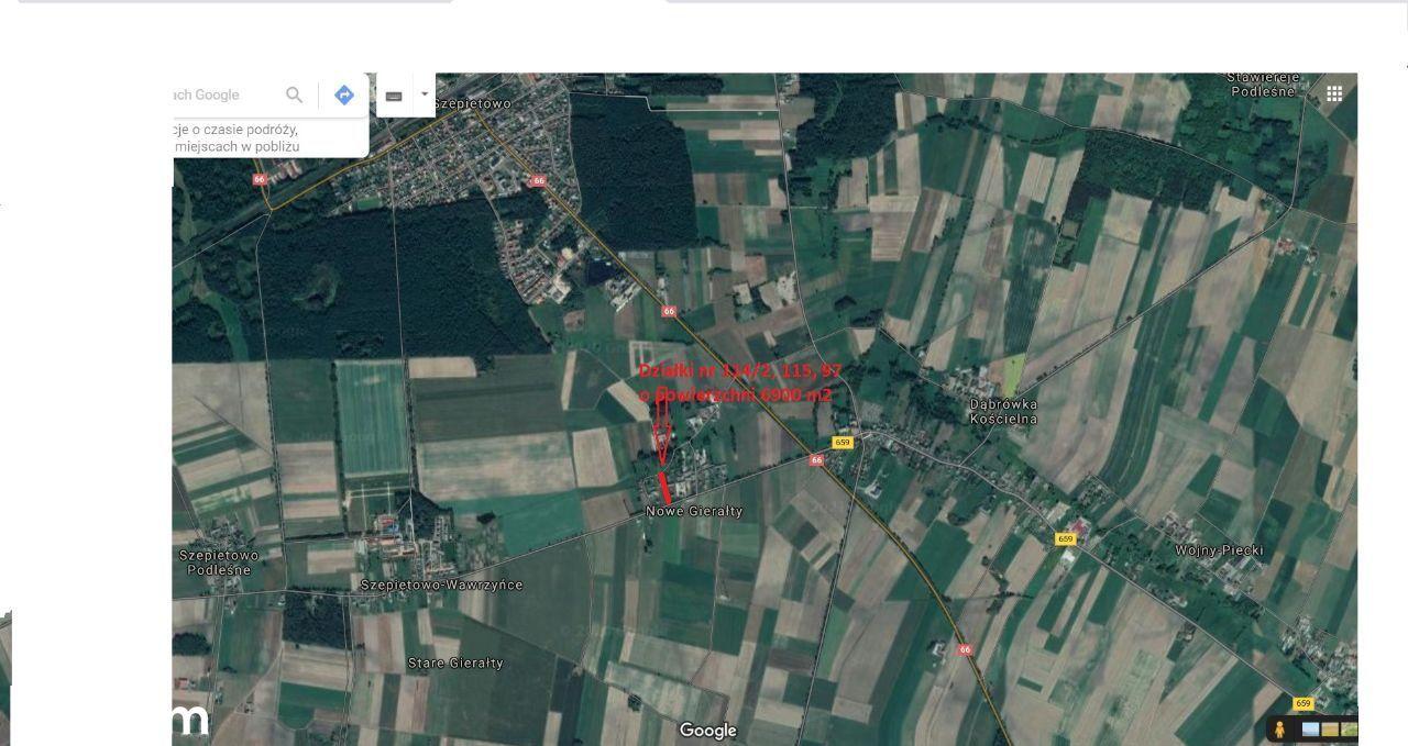 Działka siedliskowa 6900 m2 - Nowe Gierałty