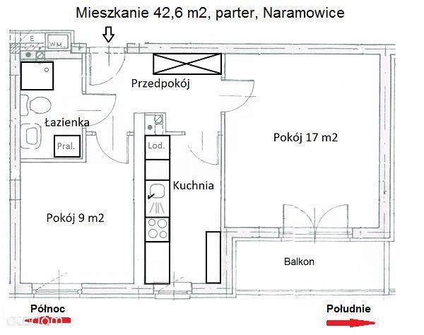 Mieszkanie 2 pokoje 43m2 zadbane Naramowice