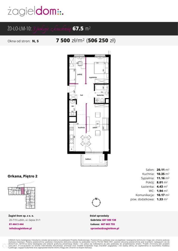 Trzypokojowe mieszkanie Orkana Residence M10