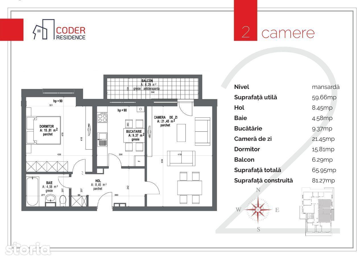 Apartament 2 camere Coder Residence 3