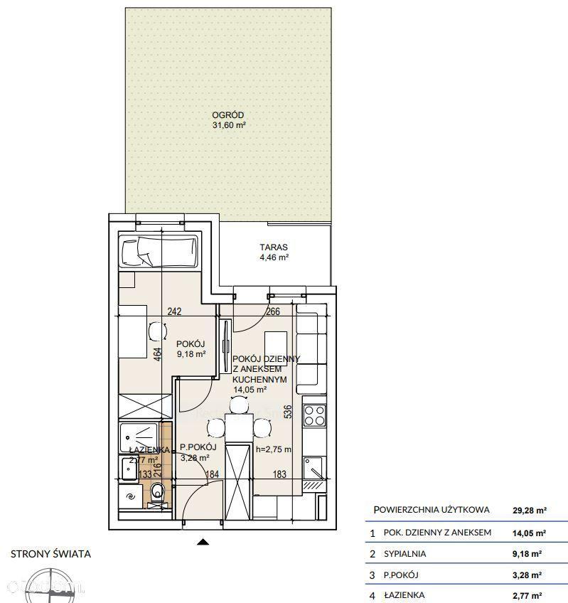 Mieszkanie 2 pokojowe 30m2 z ogródkiem 30m2