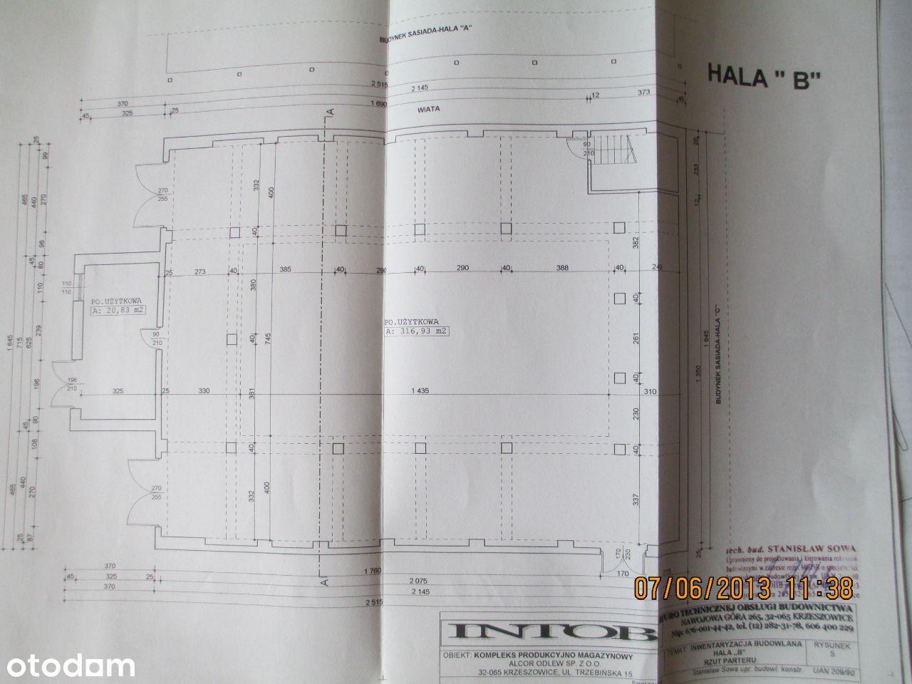 Hala 500 m2, teren przemysłowo- usługowy