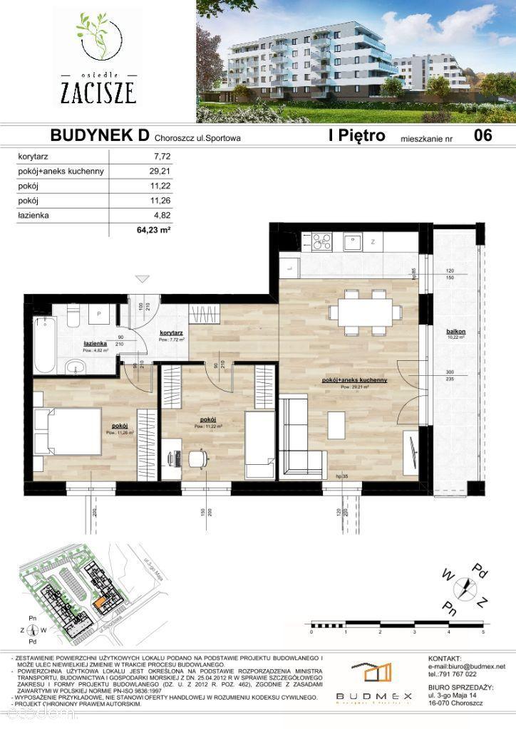 Osiedle Zacisze mieszkanie 3 pokojowe duży balkon