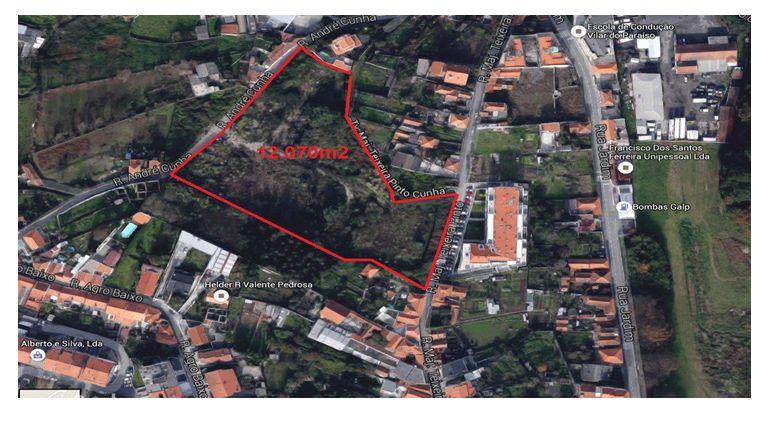 Terreno 12.070m2, para arrendar, 3 frentes  Vilar do Paraíso