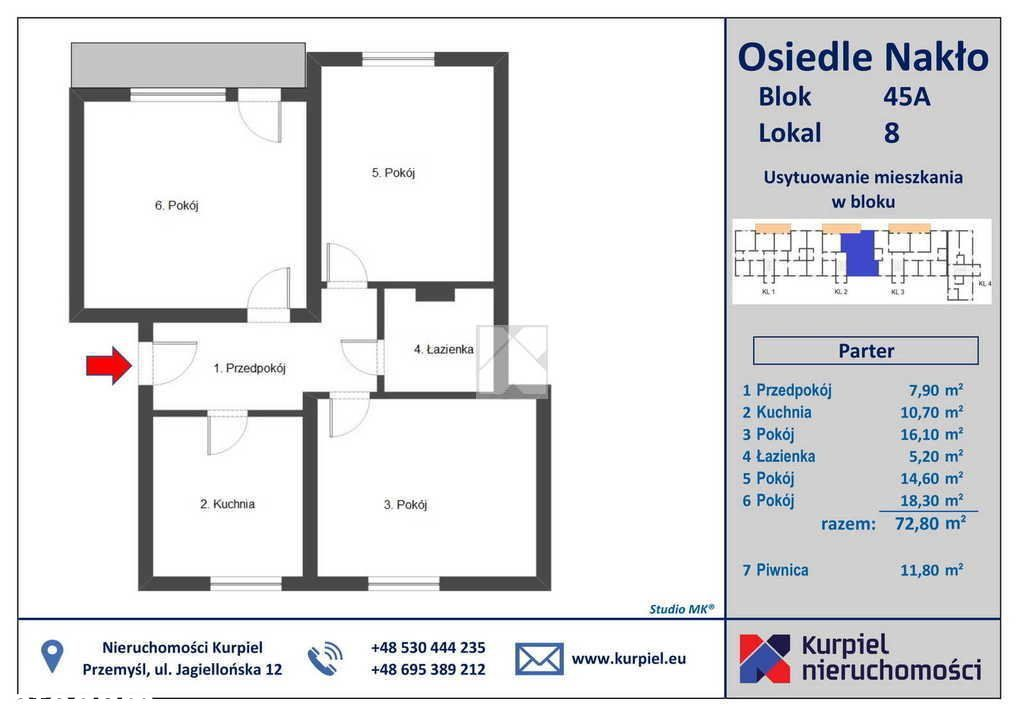 Mieszkanie, 72,80 m², Nakło