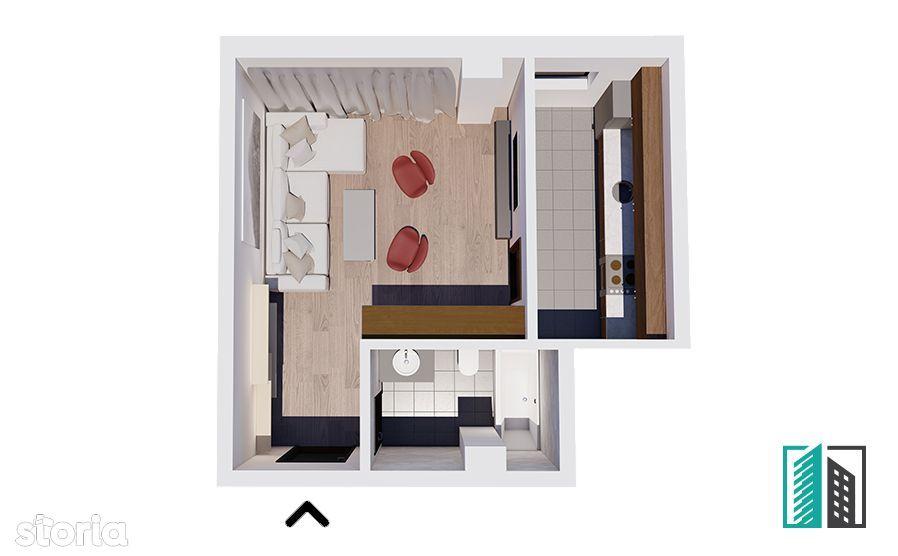 Apartament 1 camera decomandat 28.000 34,61 mp