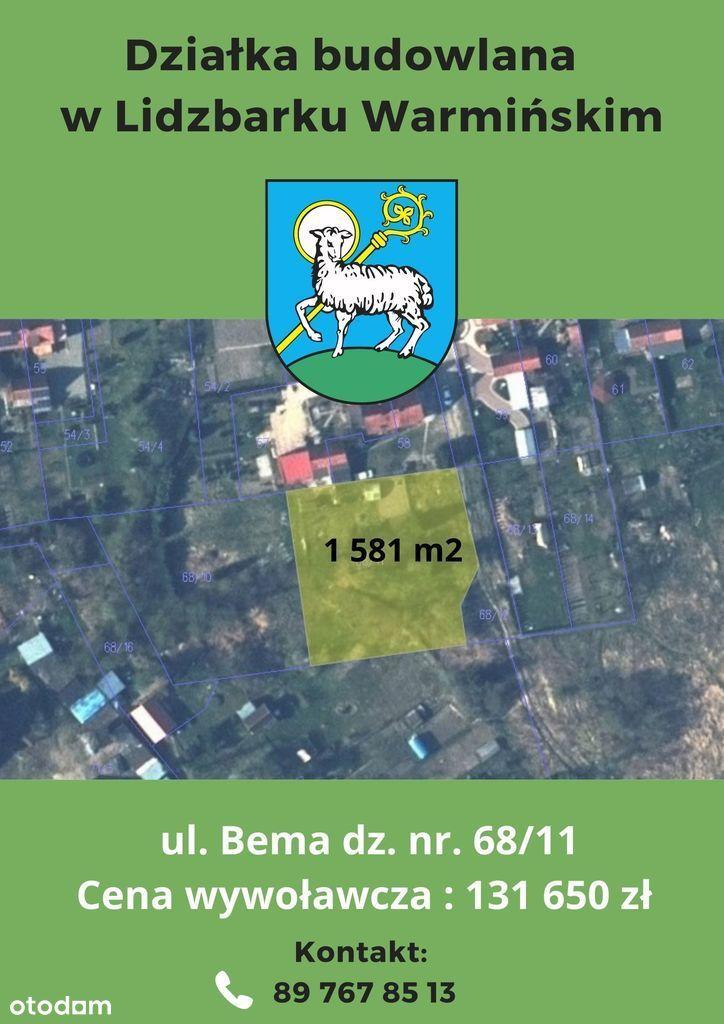 Działka, 1 581 m², Lidzbark Warmiński