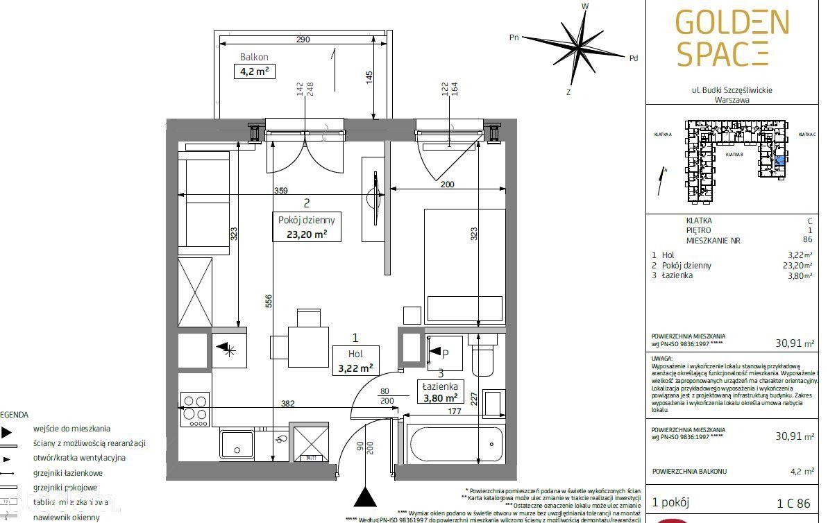 2 pokoje Golden Space, oddanie 08.2021, 30 m2