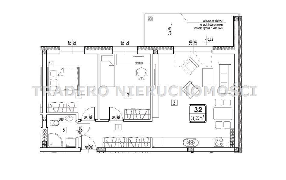 Mieszkanie, 61,55 m², Dąbrowa