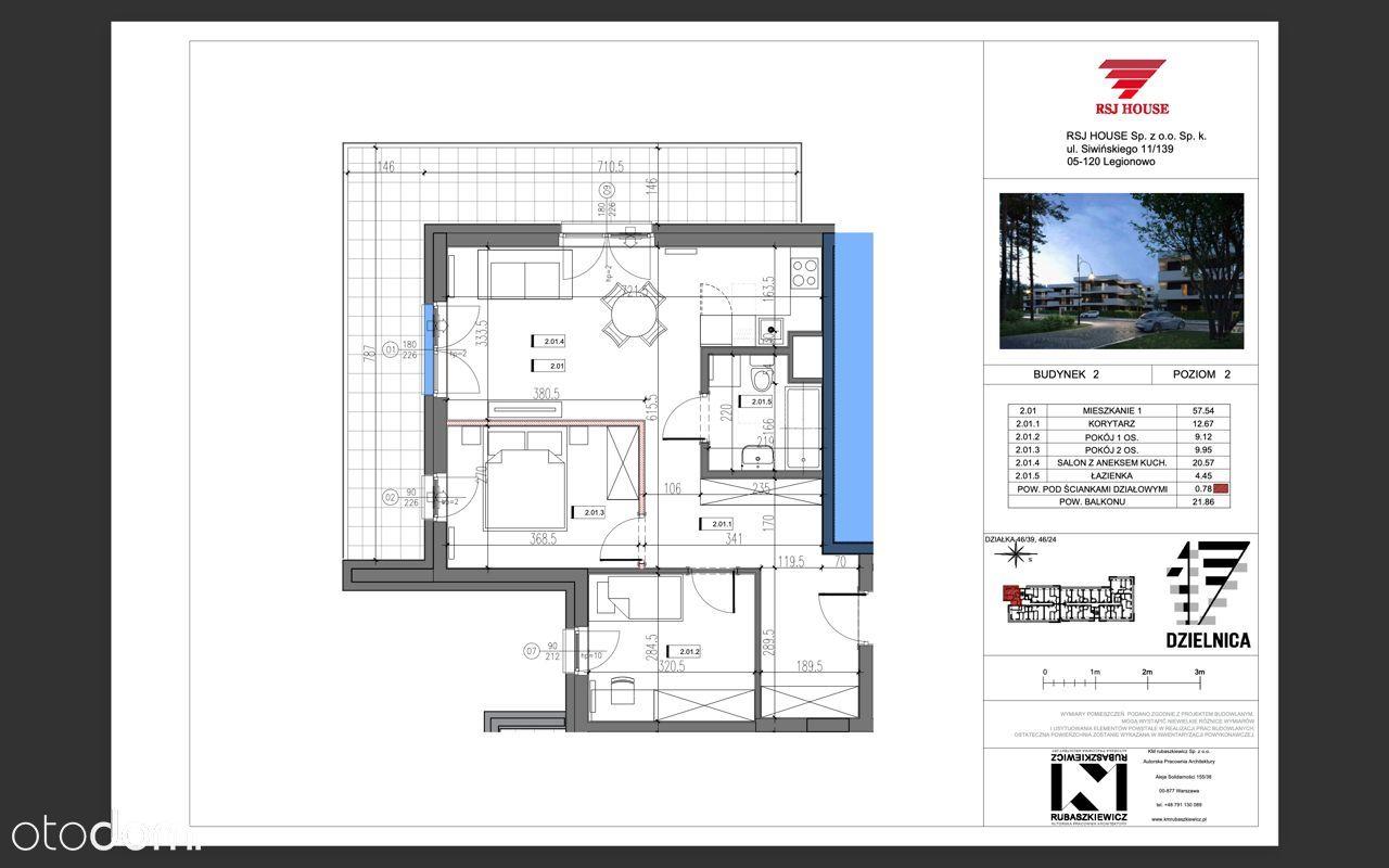Mieszkanie 3 pokoje 17 dzielnica - 57,54m2