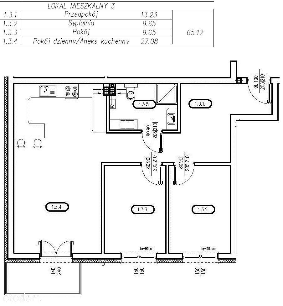 Przystań Franciszka Nowe Mieszkania 3 pok. 65,12m2